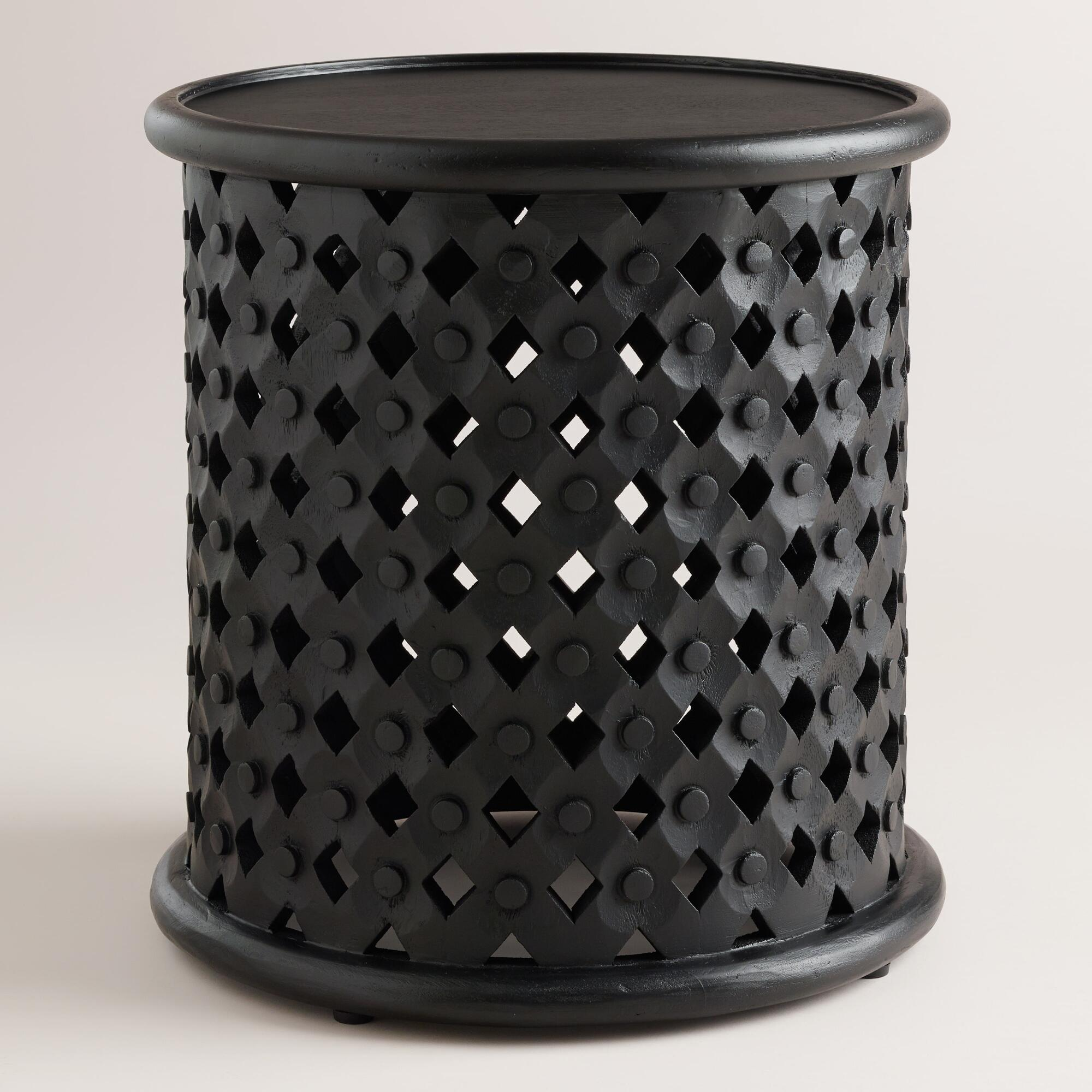 Black tribal carved accent table world market for Tribal carved coffee table