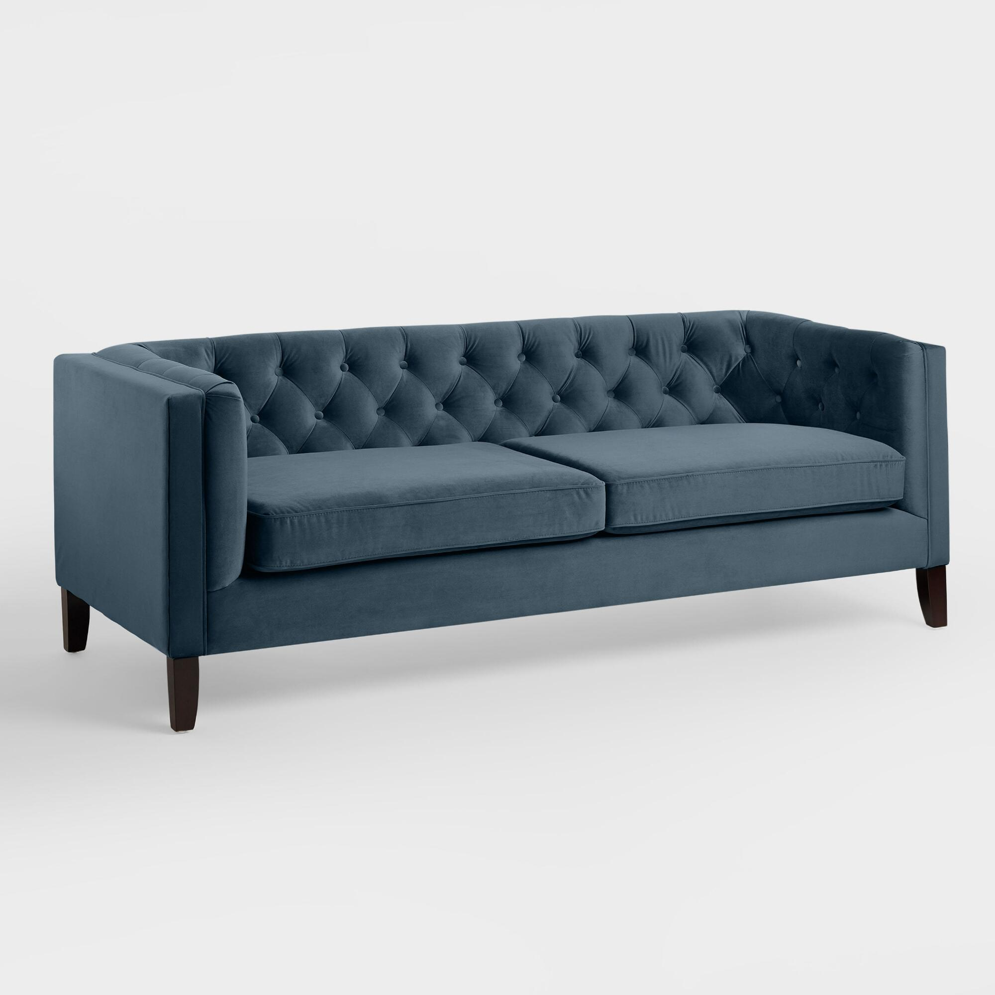 Midnight blue velvet kendall sofa world market for Average cost of sofa