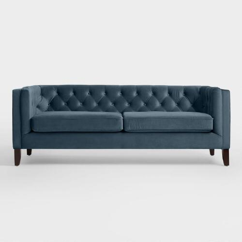 Dining Room At Kendall College: Midnight Blue Velvet Kendall Sofa