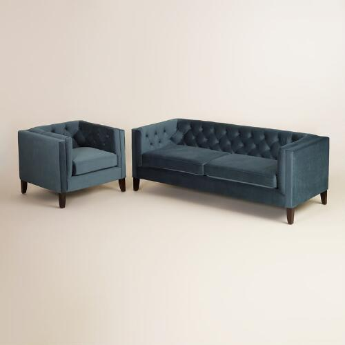 Midnight Blue Kendall Velvet Sofa World Market