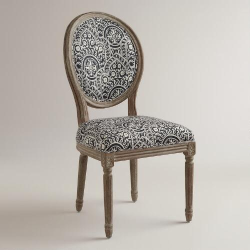 Black and White Paige Round Back Dining Chairs, Set of 2