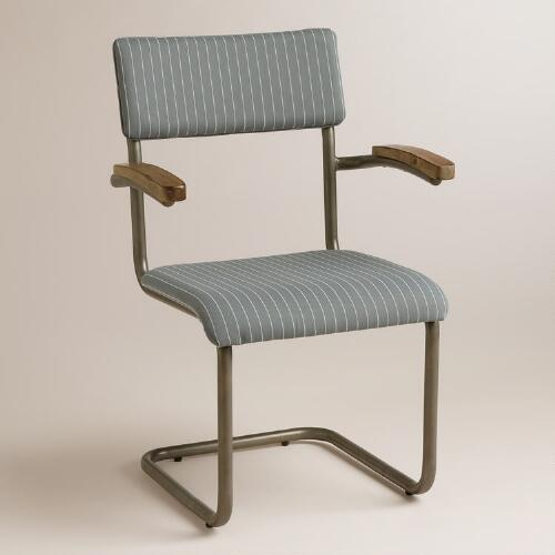 Gray Striped Riley Chair, Set of 2