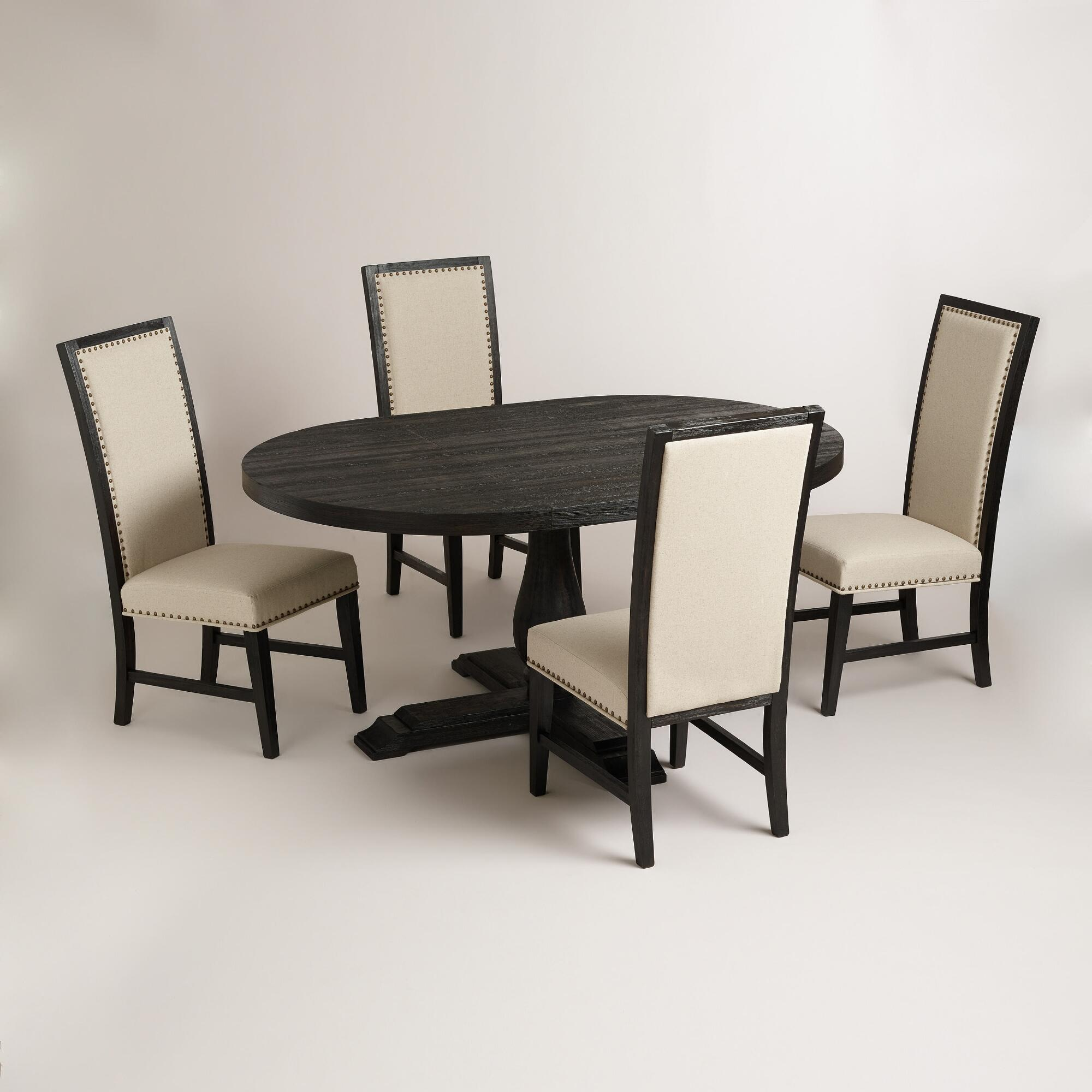 Round black greyson dining collection world market for Greyson dining table