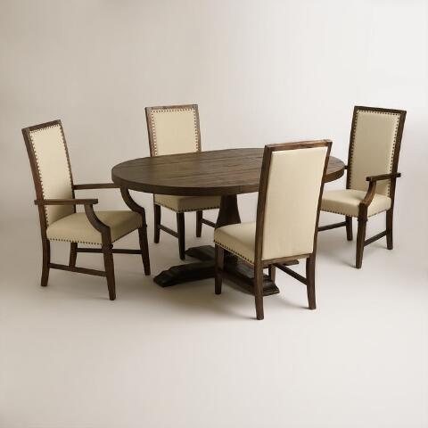 Round to oval java greyson extension table world market for Greyson dining table