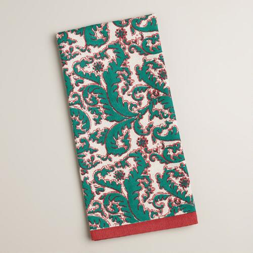 Aqua and Raspberry Block Print Damask Kitchen Towel