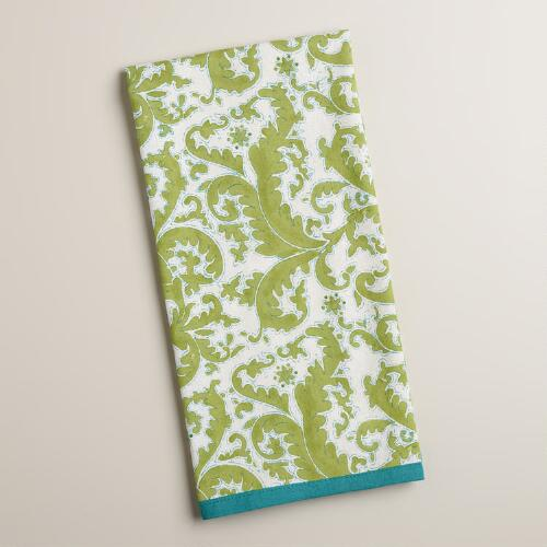 Green and Teal Block Print Damask Kitchen Towel