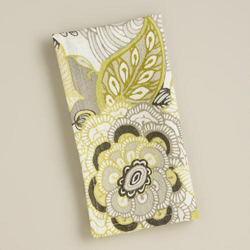 Green and Gray Floral Bambini Napkins, Set of 4