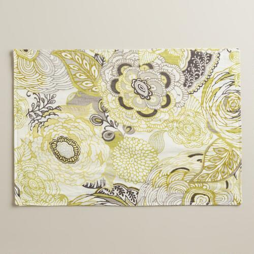 Green and Gray Floral Bambini Placemats, Set of 4