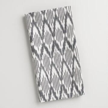 Black and White Ikat Napkins, Set of 4