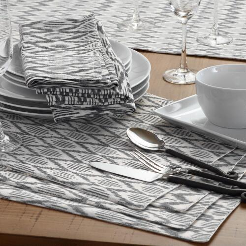 Black and White Ikat Table Linen Collection
