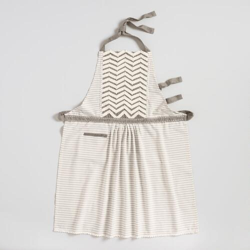 Gray Chevron Striped Twill Apron