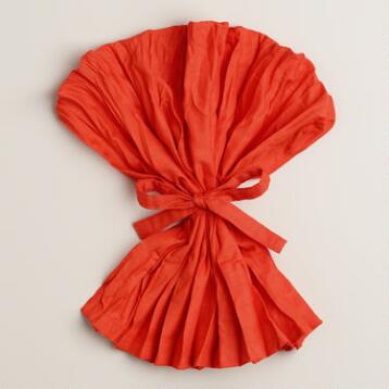 Flame Orange Crinkle Napkins, Set of 4