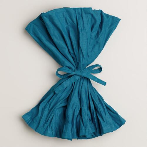 Mykonos Blue Crinkle Napkins, Set of 4
