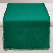 Oversized Storm Green Herringbone Table Runner
