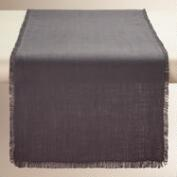 Oversized Gray Herringbone Table Runner