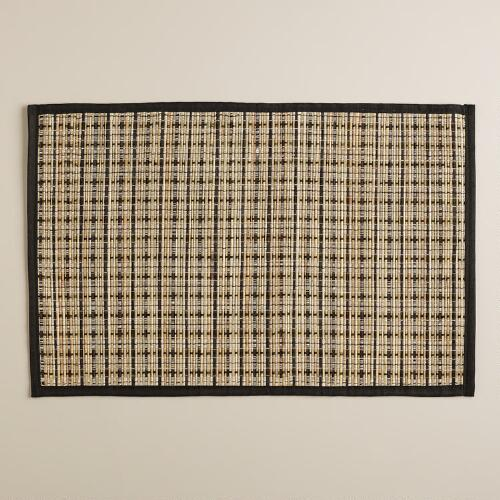 Mendong Black Border Placemats, Set of 4