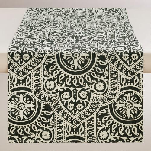 Black and White Rocco Table Runner
