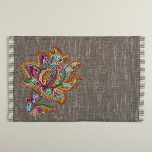 Sahara Bloom Embroidered Placemats, Set of 4
