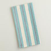 Blue Striped Seersucker Kitchen Towels. Set of 4