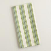 Green Striped Seersucker Kitchen Towels, Set of 4