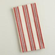 Red Striped Seersucker Kitchen Towels, Set of 4