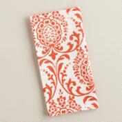Orange Flame Medallion Block Print Napkins, 4 Pack
