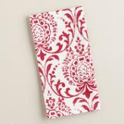 Red Medallion Block Print Napkins, Set of 4