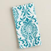 Teal Medallion Block Print Napkins, 4 Pack