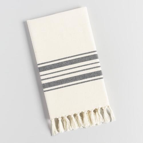 Black Striped Mugla Kitchen Towel
