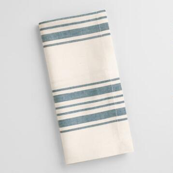 Blue Villa Stripe Napkins, Set of 4