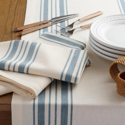 Blue Villa Stripe Table Linen Collection