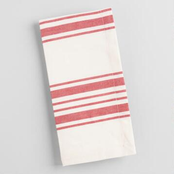 Red Villa Stripe Napkins, Set of 4