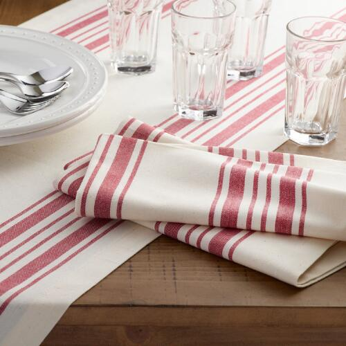 Red Villa Stripe Table Linen Collection