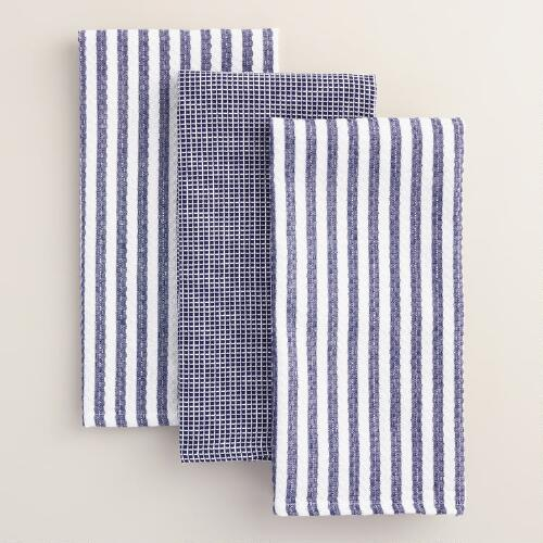 Blue Waffle Weave Kitchen Towels, Set of 3