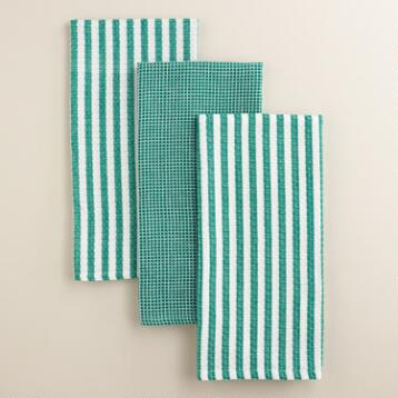 Green Waffle Weave Kitchen Towels, Set of 3