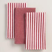 Red Waffle Weave Kitchen Towel, Set of 3