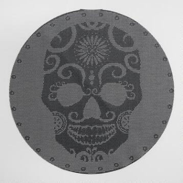 Skull Vinyl Round Placemats, Set of 4