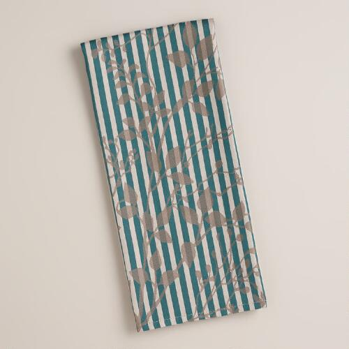Blue and Gray Stripe Botanical Kitchen Towel