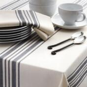 Black Villa Stripe Table Linen Collection