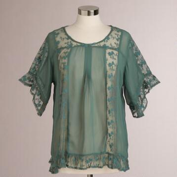 Teal Katina Lace Short Sleeve Top