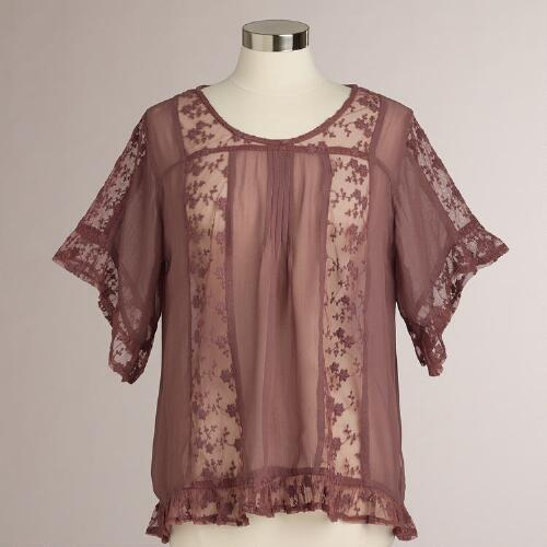 Mauve Katina Lace Short Sleeve Top
