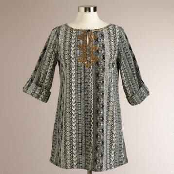 Black and Ivory Janeka Tunic Top