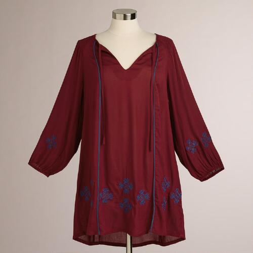 Maroon Embroidered Kimbra Dress