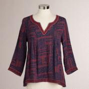 Purple and Red Malika Embroidered Top