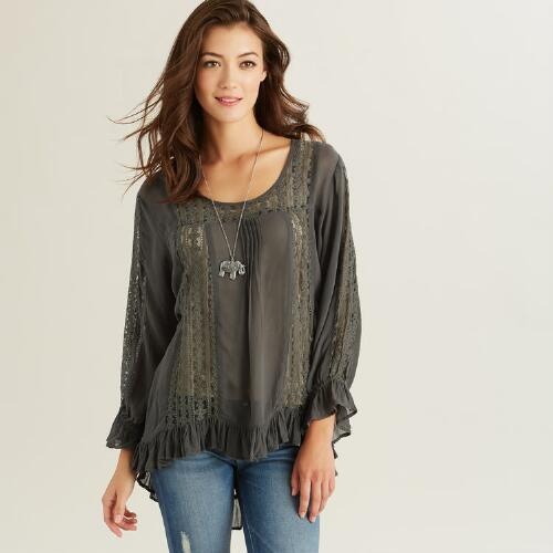 Gray Isabella Lace Long Sleeve Top
