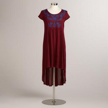 Maroon Embroidered Layne Dress