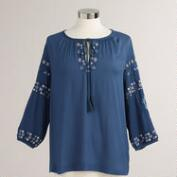 Blue and Pink Embroidered Alyssa Top