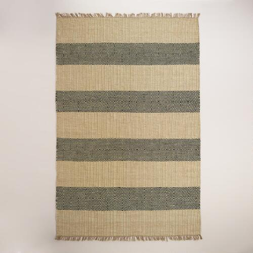Black and Natural Ellie Jute Area Rug