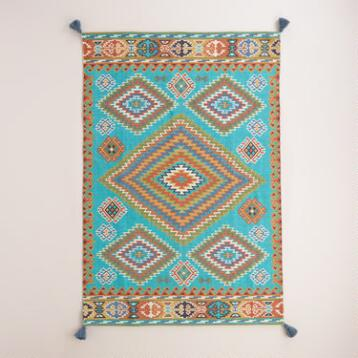 Blue Odina Kilim Flatweave Easy Care Rug