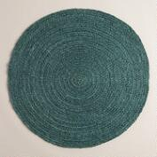 Green Round Braided Jute Area Rug